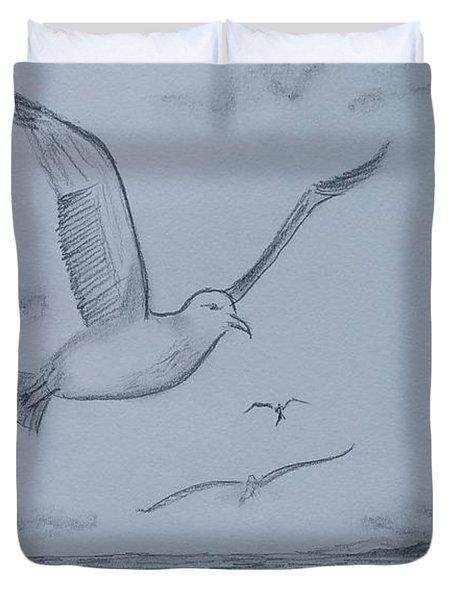 Seagulls Over The Ocean Duvet Cover