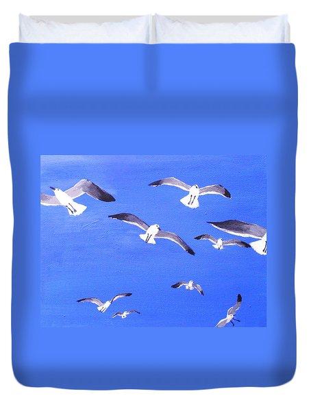 Seagulls Overhead Duvet Cover by Anne Marie Brown