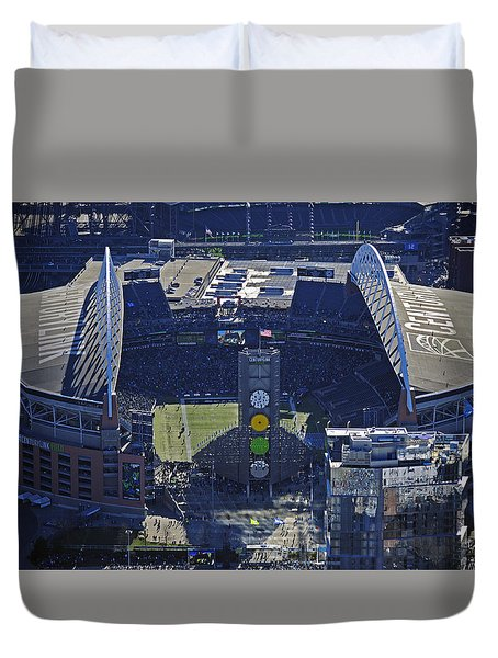 Duvet Cover featuring the photograph Seahawk Stadium by Jack Moskovita