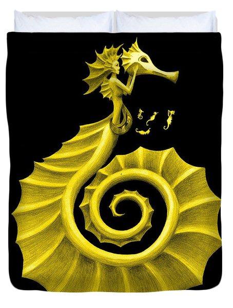 Seahorse Amy Gold Duvet Cover