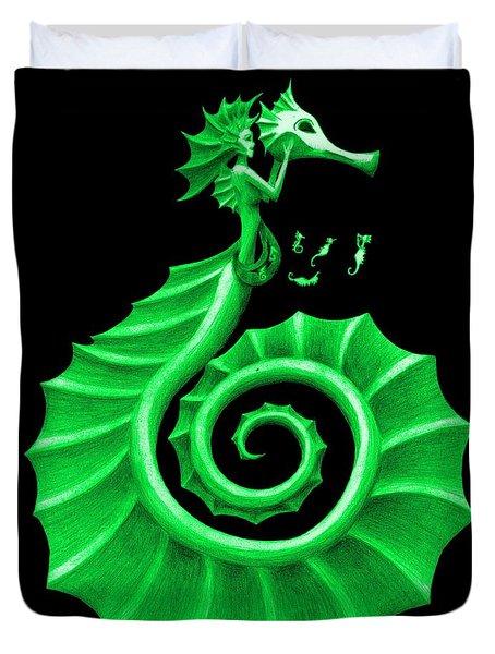 Seahorse Amy Green Duvet Cover