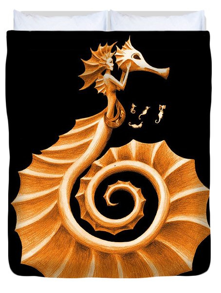 Seahorse Amy Orange Duvet Cover