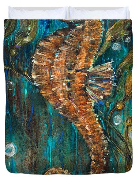 Seahorse And Kelp Duvet Cover