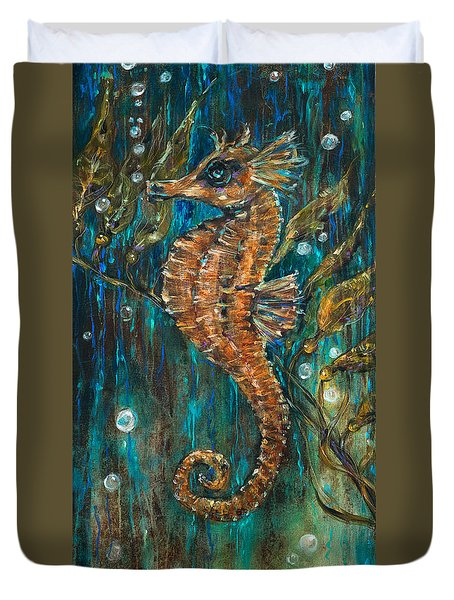 Seahorse And Kelp Duvet Cover
