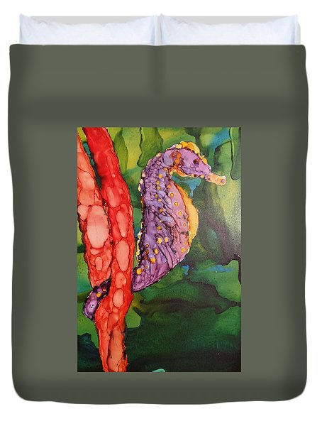 Duvet Cover featuring the painting Seahorse Fantasy by Judy Mercer