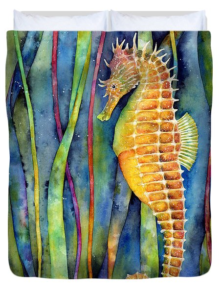Duvet Cover featuring the painting Seahorse by Hailey E Herrera