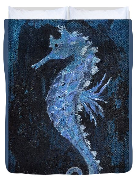 Duvet Cover featuring the painting Seahorse by Jamie Frier