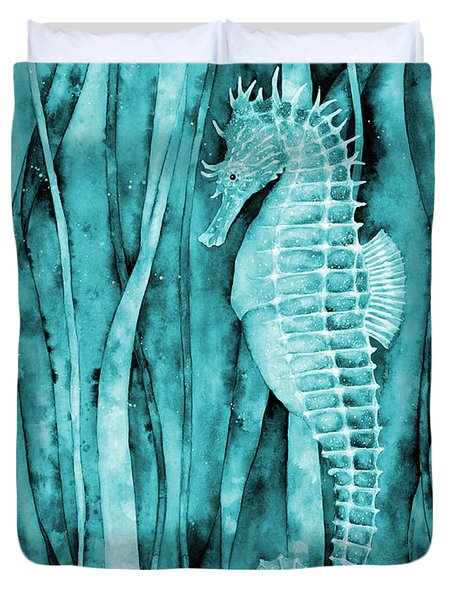 Seahorse On Blue Duvet Cover