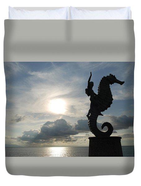 Seahorse Silhouette Duvet Cover