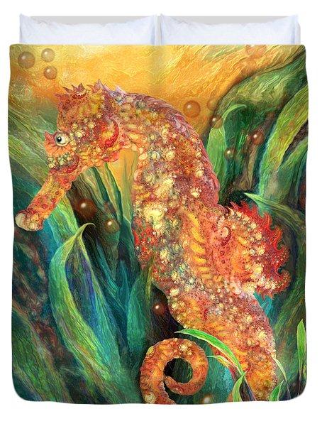 Seahorse - Spirit Of Contentment Duvet Cover by Carol Cavalaris
