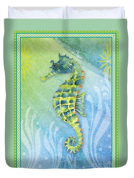 Seahorse Blue Green Duvet Cover