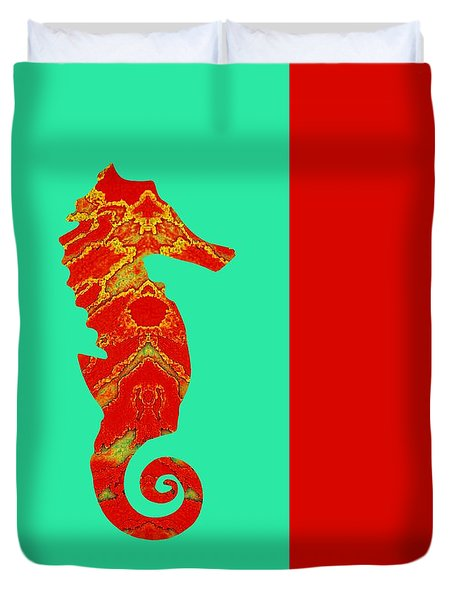 Seahorse Turquoise And Orange Right Facing Duvet Cover