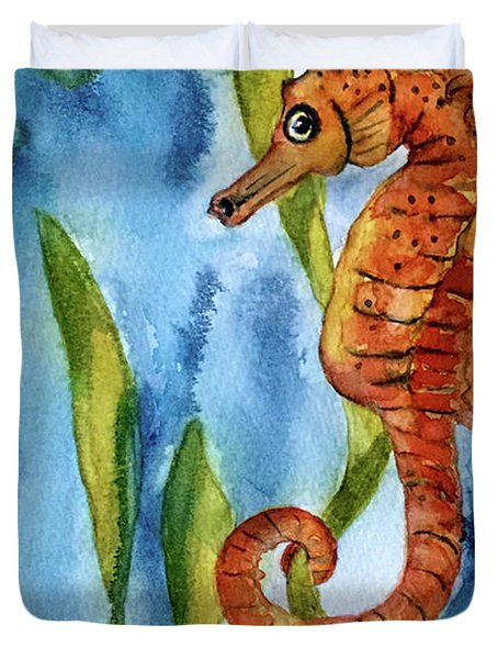 Seahorse With Sea Grass Duvet Cover