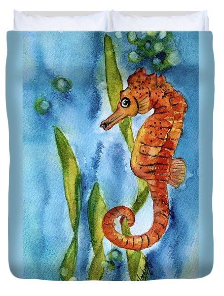 Seahorse With Sea Grass Duvet Cover