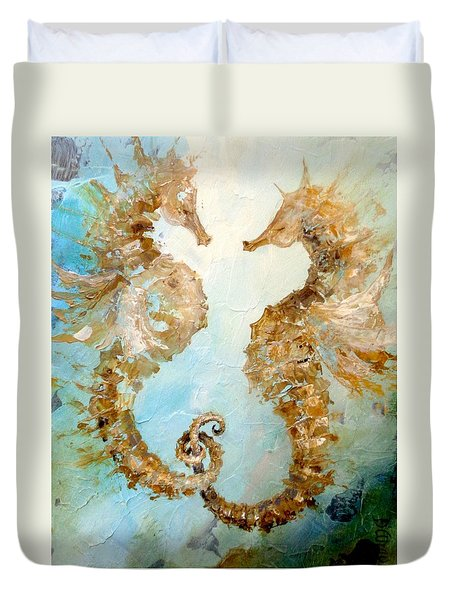 Duvet Cover featuring the painting Seahorses In Love 2016 by Dina Dargo