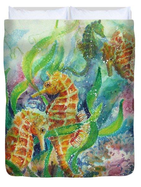 Seahorses Three Duvet Cover by Deborah Younglao