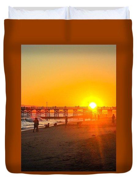 Seal Beach Pier Sunset Duvet Cover