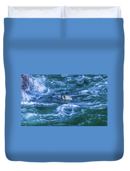 Duvet Cover featuring the photograph Seal In Teh Water by Jonny D