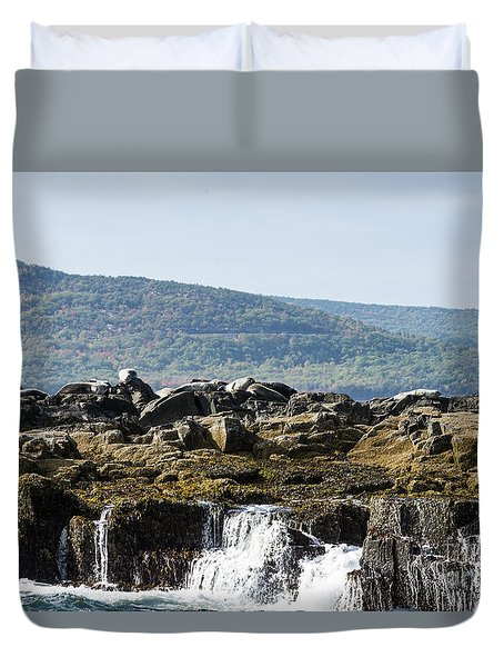 Duvet Cover featuring the photograph Seal Island by Anthony Baatz