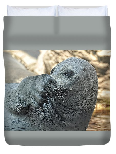 Seal Love I Got My Nose Duvet Cover by Joanne Brown