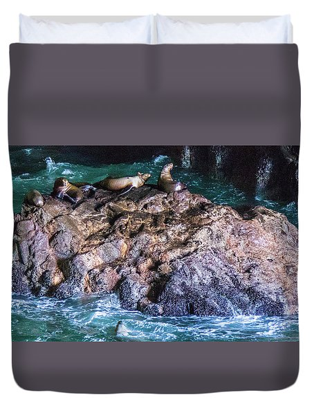 Duvet Cover featuring the photograph Seal  Rock by Jonny D