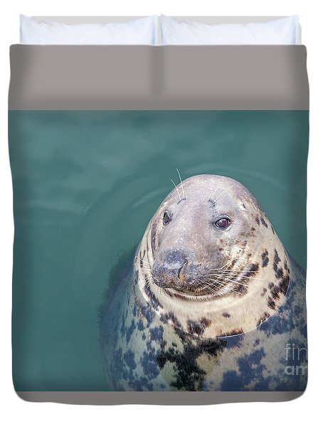 Seal With Long Whiskers With Head Sticking Out Of Water Duvet Cover