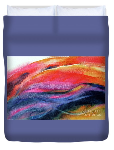 Duvet Cover featuring the painting Seams Of Color by Kathy Braud