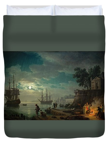 Seaport By Moonlight Duvet Cover