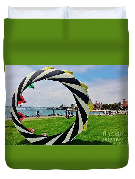 Duvet Cover featuring the photograph Seaport Villagethrough My Lens by Jasna Gopic