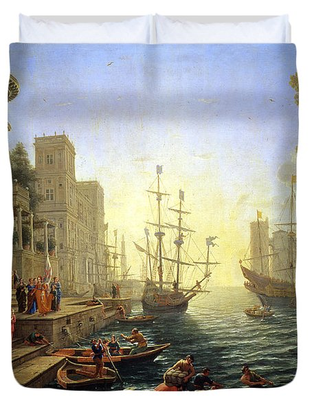 Seaport With The Embarkation Of Saint Ursula  Duvet Cover by Claude Lorrain