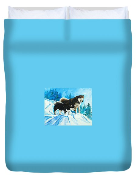 Searching Huskies Duvet Cover by Marla Hoover