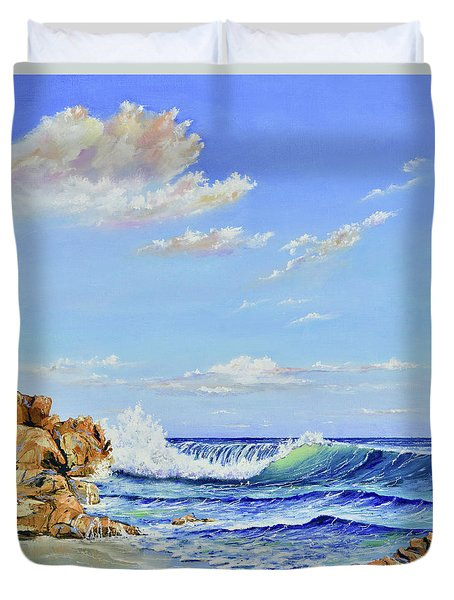 Duvet Cover featuring the painting Seascape Beach by Mary Scott