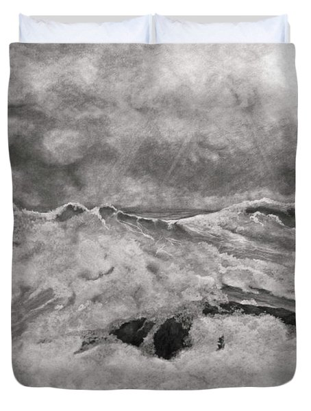 Seascape In Graphite Duvet Cover