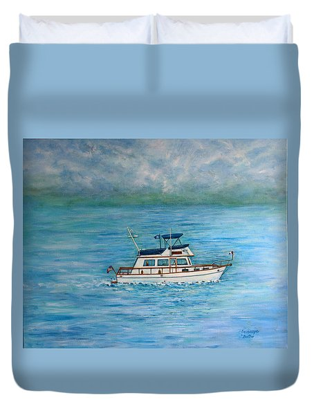Duvet Cover featuring the painting Seascape by Lynn Buettner