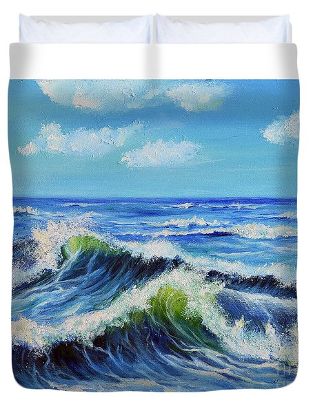 Duvet Cover featuring the painting Seascape No.3 by Teresa Wegrzyn