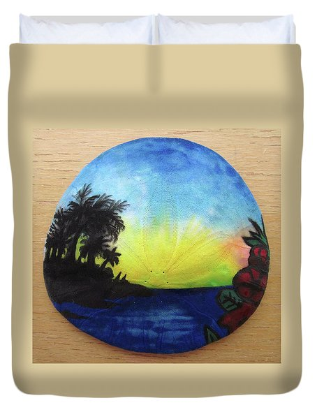 Seascape On A Sand Dollar Duvet Cover