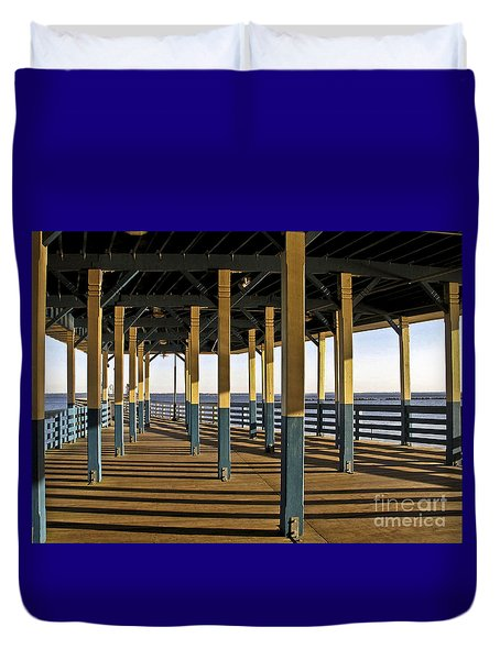 Seascape Walk On The Pier Duvet Cover