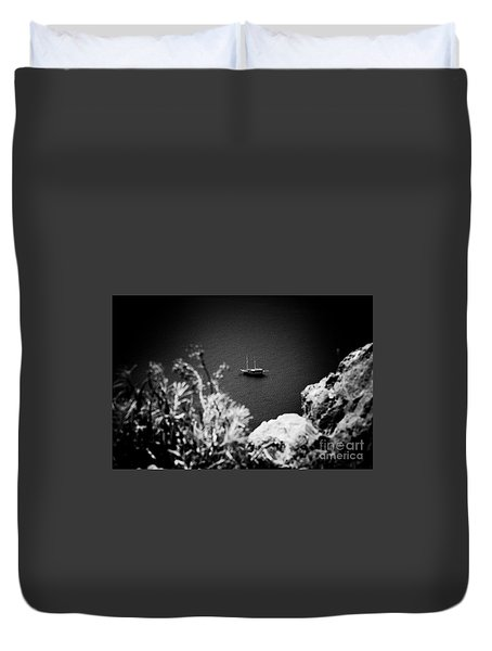 Seascape With Boat Artmif.lv Balck And White Duvet Cover