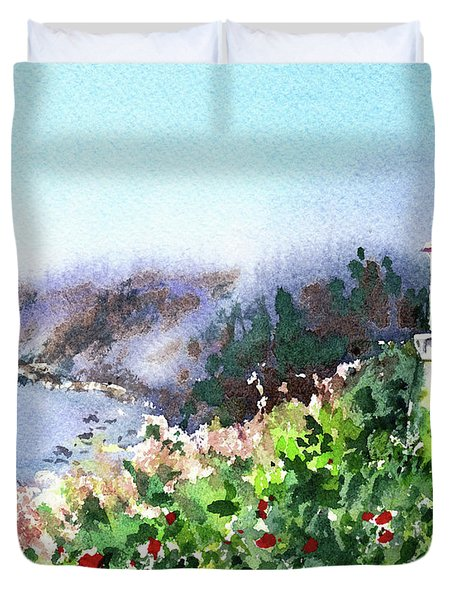 Seascape With Lighthouse Duvet Cover