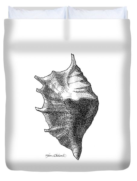 Duvet Cover featuring the drawing Seashell 1 - Nautical Beach Drawing by Karen Whitworth