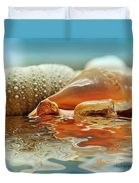 Seashell Reflections On Water Duvet Cover by Kaye Menner
