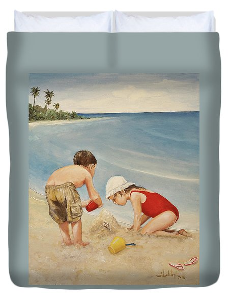 Seashell Sand And A Solo Cup Duvet Cover