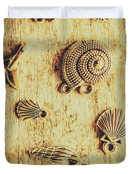 Seashell Shaped Pendants On Wooden Background Duvet Cover