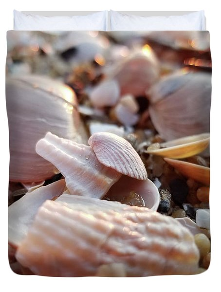 Seashells And Pebbles Duvet Cover