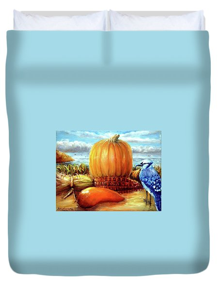 Seashore Pumpkin  Duvet Cover by Bernadette Krupa