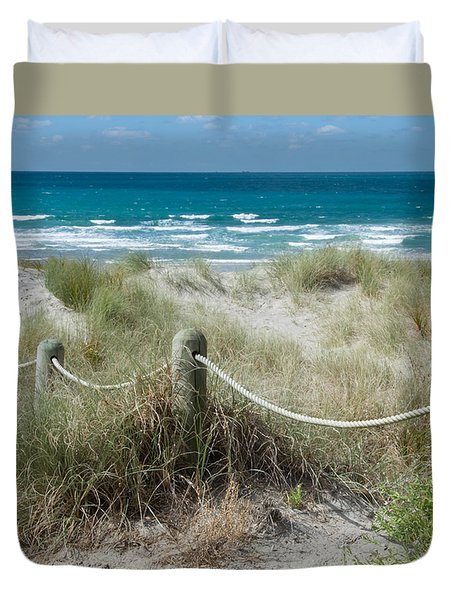 Duvet Cover featuring the photograph Seaside Beach Ropes by Jocelyn Friis
