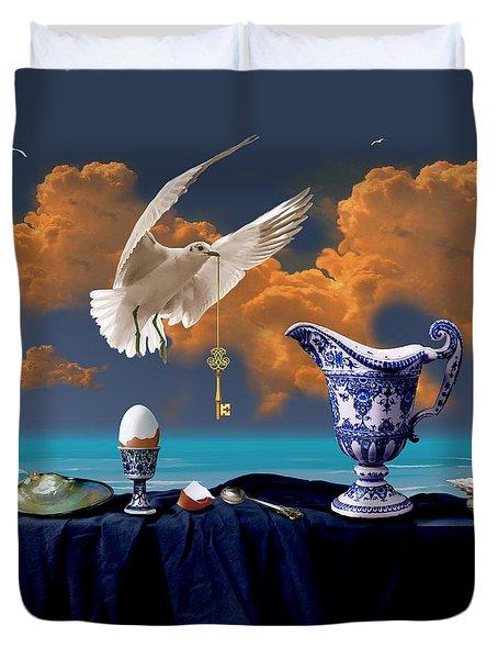 Duvet Cover featuring the digital art Seaside Breakfast by Alexa Szlavics