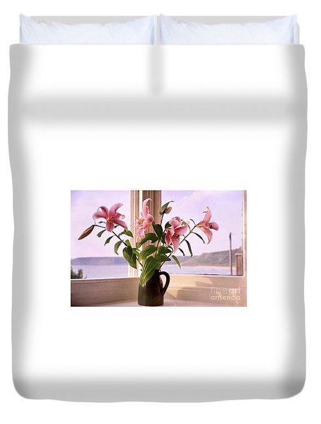 Seaside Lilies Duvet Cover by Terri Waters