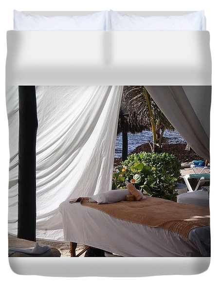 Seaside Massage Duvet Cover by Lois Lepisto