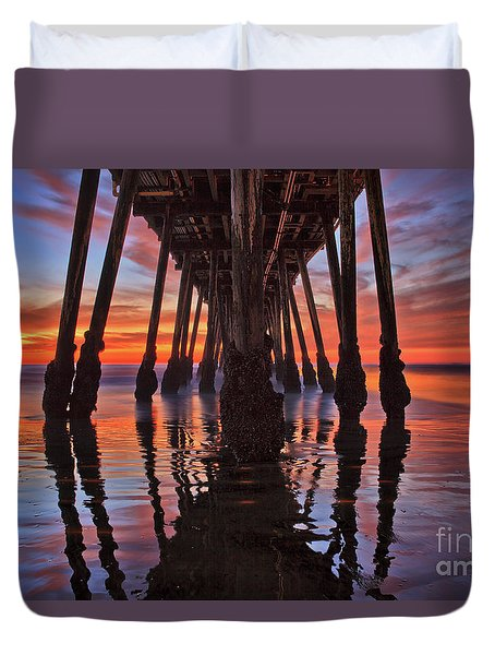 Seaside Reflections Under The Imperial Beach Pier Duvet Cover